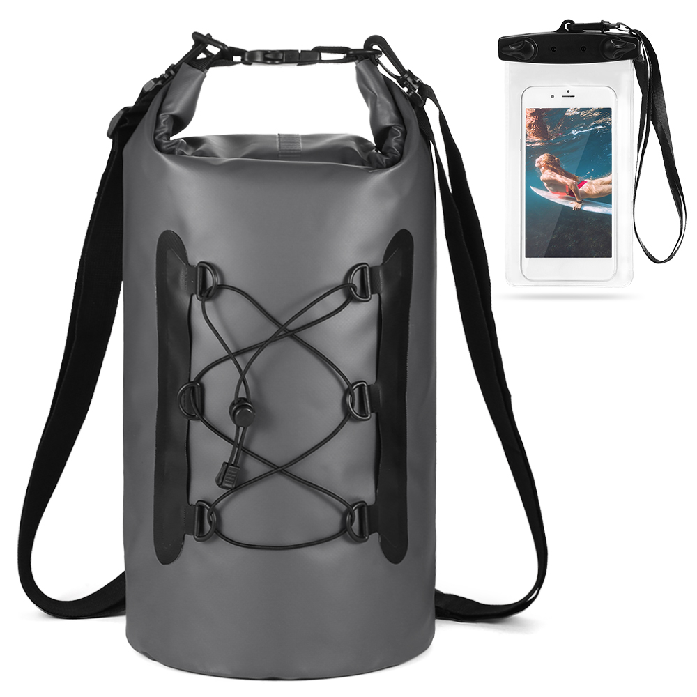 15L Waterproof PVC Bag With Phone Case Swim Water Proof Backpack Trekking Dry Bag Roll Top Dry Sack For Boating Fishing Surfing