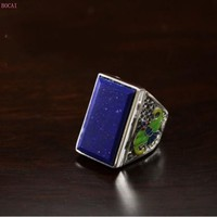2019 new fashionthai silverS925 pure silver ring Cloisonne drop oil natural lapis lazuli thai silver men's ring for men