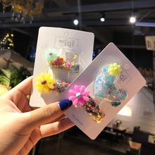 2pcs/set Girl Hair Accessories Cute Decor Transparent Clip Crown Colorful Bling