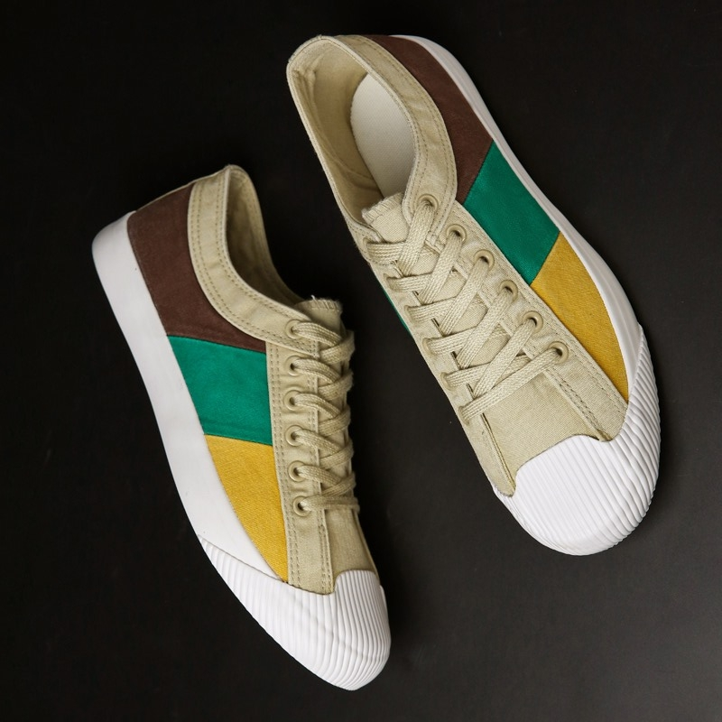 Allwesome Men Canvas Rainbow Rubber Shoes Red Bottom Shoes Vulcanized Footwear Summer Breathable Flats Designer Sneakers in Men 39 s Vulcanize Shoes from Shoes