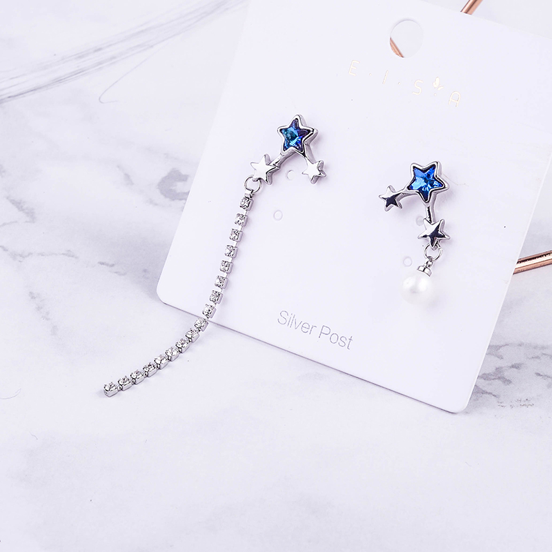 Silver Color Shiny Stars Drop Earrings Asymmetric Series Imitation Pearls For Women Fashion Jewelry Drop Shipping Accessories