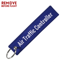 Remove Before Flight Travel Luggage Tag ATC Key Chain Jewelry Embroidery Aviation Tag Air Traffic Controller Flight Crew KeyRing