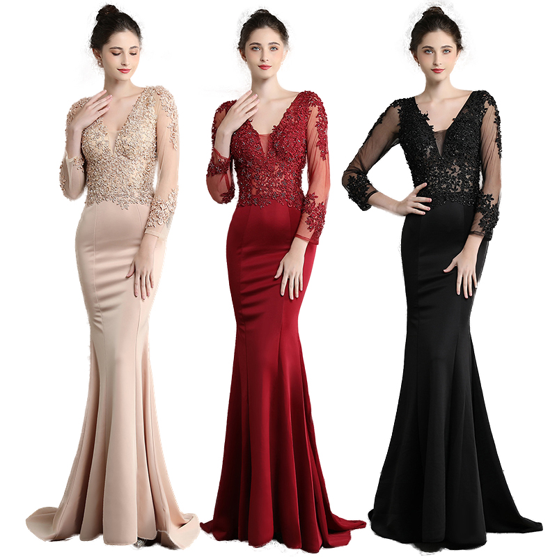 Long Sleeve Mermaid Evening Dress Long Appliques Lace Balck Women Dress Evening Mother Of The Bride Dress Double V Neck Formal
