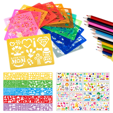 20pcs Kids Drawing Template Set Art Tool Painting Stencil Rulers Drawing Color Board Children Painting Learning Education Aids