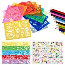 20 pièces enfants dessin modèle ensemble Art outil peinture pochoir règles dessin couleur conseil enfants peinture apprentissage éducation aides
