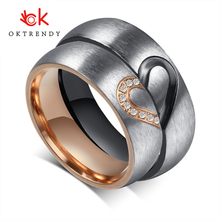 Oktrendy Half Heart Couple Wedding Band Ring Stainless Steel CZ Stone Anniversary Engagement Promise for Women Men