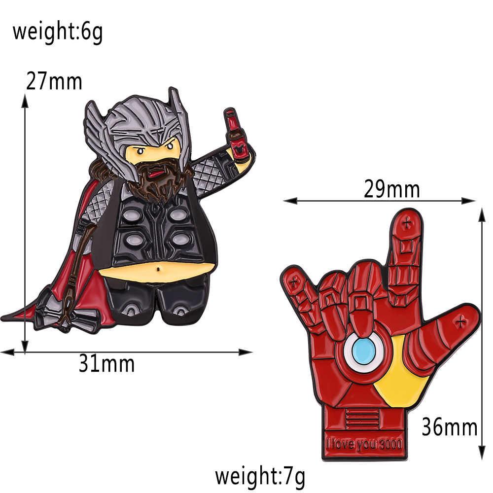 The Avengers 4 Obesitas Thor Iron Man Thanos Bros Pin Kapten Tas Pin Hadiah untuk Wanita Pria Bros