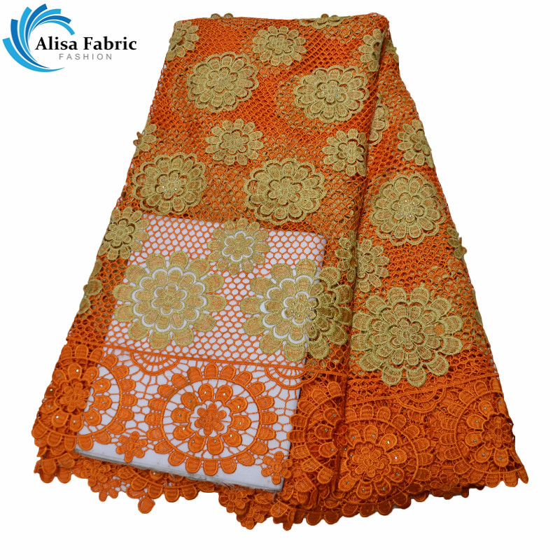 Alisa African Cord Lace Fabric Embroidery Lace Orange Design African Mesh Lace Fabrics With Water Soluble and Stones For Sewing