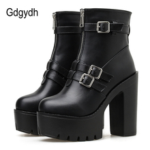 все цены на Gdgydh Sexy Buckle Boots Female With Zips Square High Heels Shoes Autumn Spring Gothic Black Leather Solid Basic Boots Women онлайн