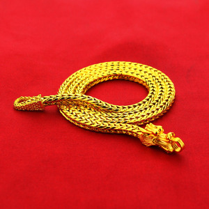 Image 5 - Special 24k Gold Necklace for Men Chinese Dragon Necklace 925 Silver Chain Mens Necklace Luxury Jewelry 50 60cm Length birthday