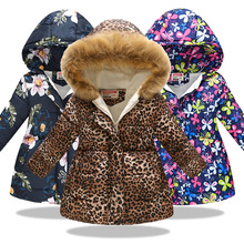 Winter Baby Girls Cartoon Printed long Jacket Kids Warm Thick Leopard Parkas Coats Overalls For Outerwear Clothes