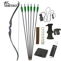 1set 56 Archery 20 50lbs Recurve Bow Carbon Arrow Kit 31.5 Turkey Feathers Carbon Arrows Shooting Training Hunting Sports Bows