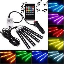 4pcs Car RGB LED Strip Light LED Strip Lights colori Car Styling lampade Decorative per atmosfera Car Interior Light con telecomando