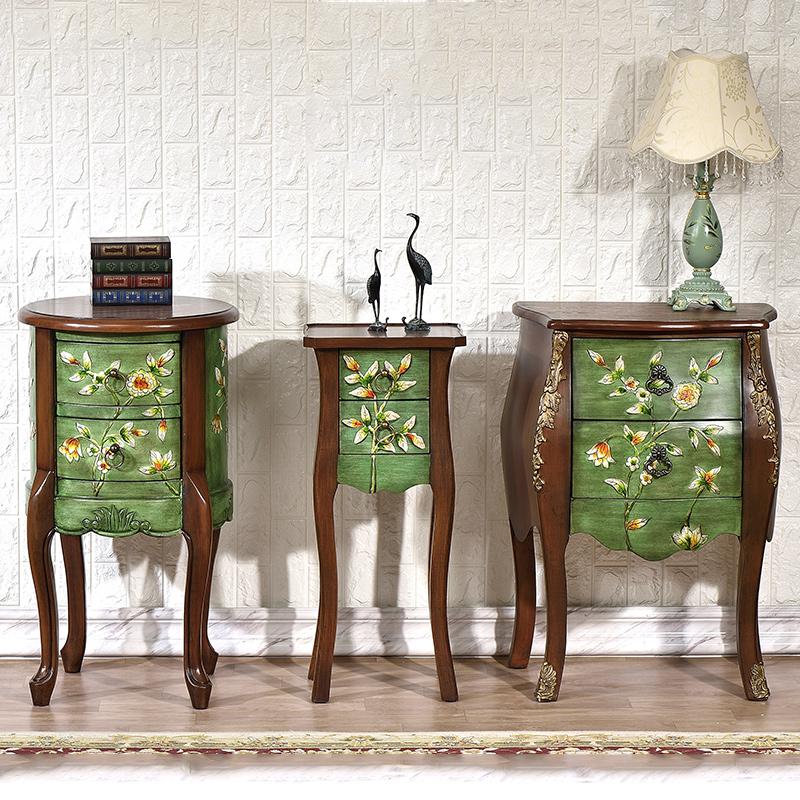3 Vintage Bijzettafeltjes.Europe And America Wood Antique End Table Console Meuble Side