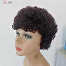 Wig Human-Hair Women Brazilian Short Bob Curly with 150%Density for Envy-Look Natural-Color