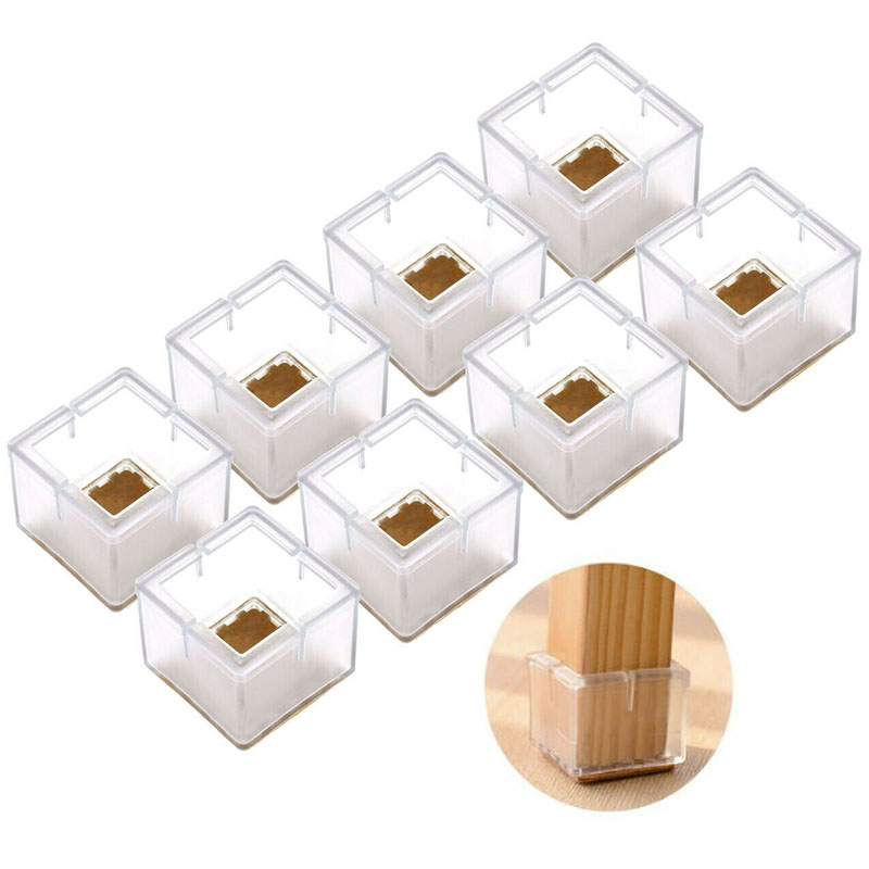 16pcs/sets Silicone Furniture Table Feet Cover Chair Leg Caps Pads Socks Floor Protectors Square Bottom Non-Slip Anti-noise Cups