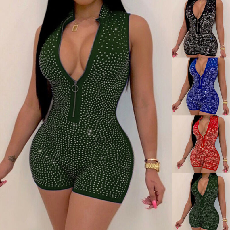 Sexy Clubwear Jumpsuit Women Ladies Short Sequins Playsuit Sleeveless Deep V Neck Zipper Bodycon Party Jumpsuit Romper Trousers