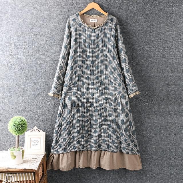yarn o-neck polka dots layers dress 1