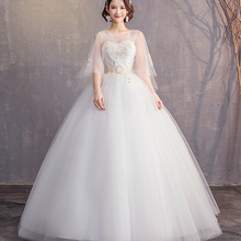 2021 New Bride Wedding Dress Slim Sexy Flare Sleeves Princess Dream Wedding Dress Cheap