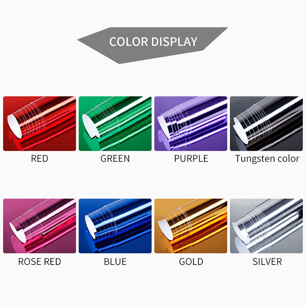 Stretchable Mirror Vinyl Film Foil Car Sticker DIY Wrapping Sheet Decal Protective Car Styling Accessories 152*20cm
