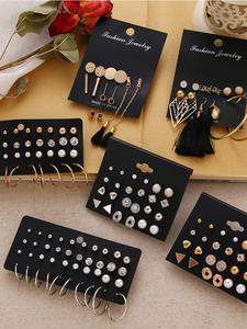 EN 12 Pairs Flower Women'S Earrings Set Pearl Crystal Stud Earrings Boho Geometric Tassel
