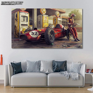 Canvas Painting Vintage Car Posters Ferraris Classic Racing Car 3D Artwork Wall Art Picture Prints Cuadros Decoracion Dormitorio