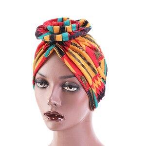 Image 2 - חדש אופנה אלגנטי 3D פרח טורבן נשים סרטן חמו בימס כובעי מוסלמי Turbante מסיבת חיג אב בארה ב אביזרי שיער