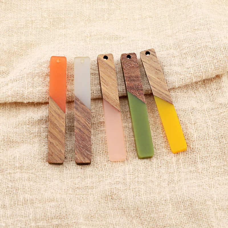 2pcs Simple Rectangle Wood Resin Necklace Pendant Charms Connectors Findings Scrub Earrings Ear Drop Bracelet Diy Jewelry Make