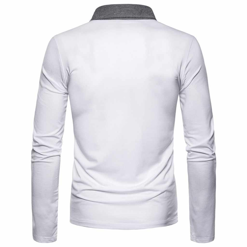 2019 Baru Musim Panas Pria Polo Shirt Lengan Panjang Turn-Over Kerah Slim Atasan Kasual Warna Solid Bernapas Bisnis Kemeja pakaian