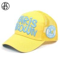 Fs 2021 moda amarelo rosa camionista chapéu verão malha boné de beisebol para homem mulher streetwear snapback hip hop bonés gorras hombre