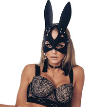 Sexy Cosplay Rabbit Bunny Masks Women Black Leather Adjustable Adult Play Special Cat Ears Halloween Rave Party Masks Costume(China)