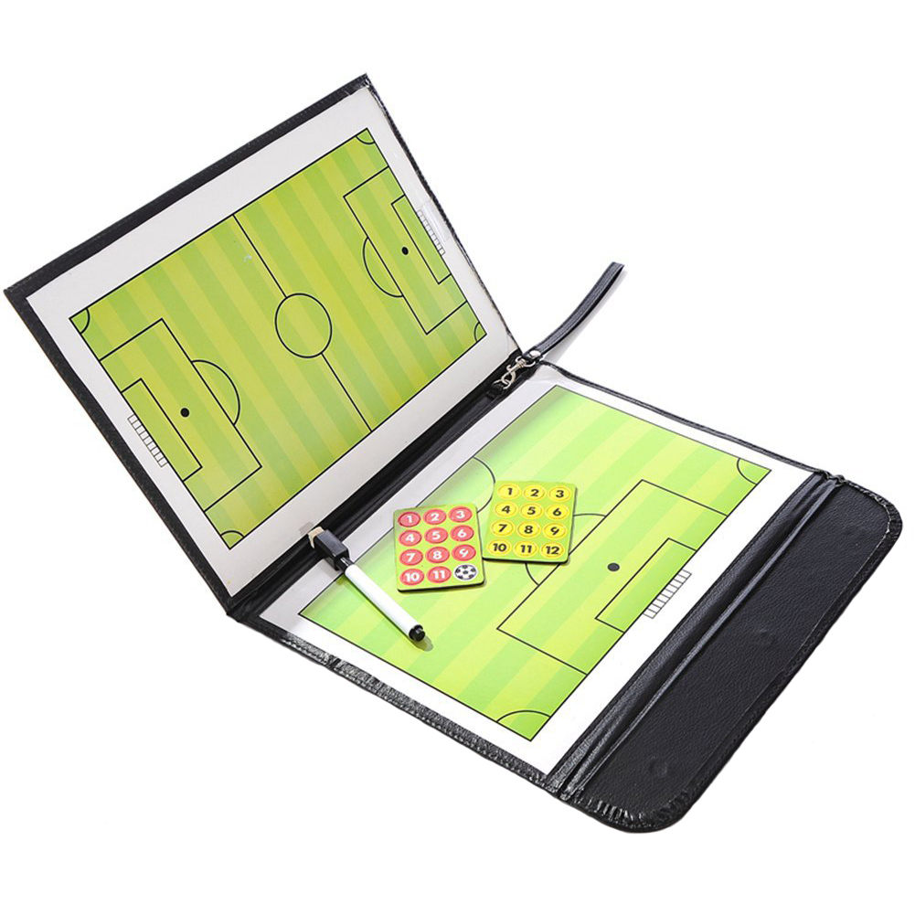 Noting Teaching Football Foldable PU Leather Sports Training Magnetic Assisitant Soccer Tactic Board With Write-Wipe Pen