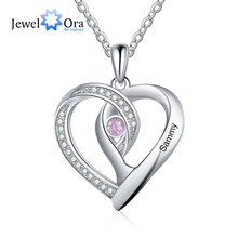 Heart-Pendant Personalized Necklaces Customized Jewelry Charm Birthstone Gift Engraved-Name