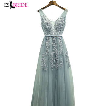 ES2719  prom dresses 2019 long V-Neck Lace Appliques grey prom dress long elegant dresses party for woman vestidos de fiesta