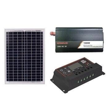 18V20W Solar Panel +12V 40/50/60A Controller + 1000W Inverter Dc12V-Ac230V Solar Power Generation Kit, For Outdoor And Home