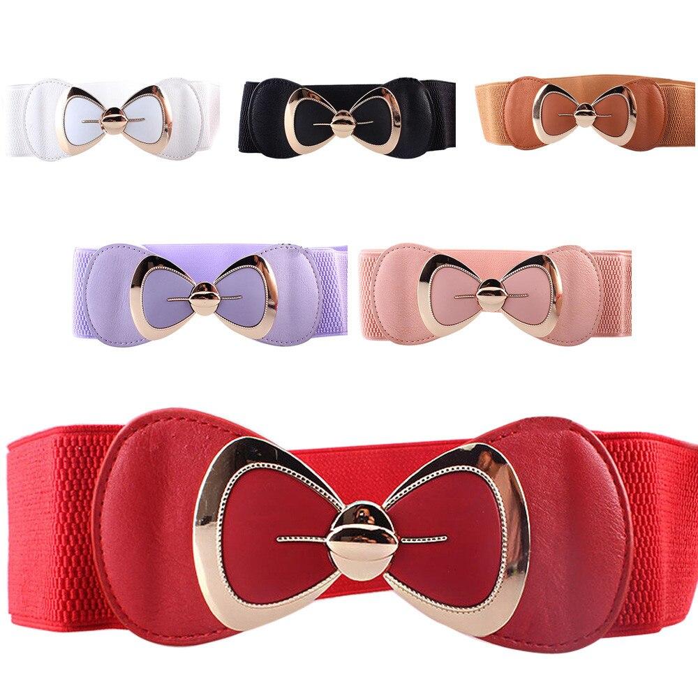 Waist Belt  Hot Sale Women Butterfly Bow Bowknot Buckle Waistband Wide Elastic Stretch Waist Belt For Women Dress Accessor  3.25