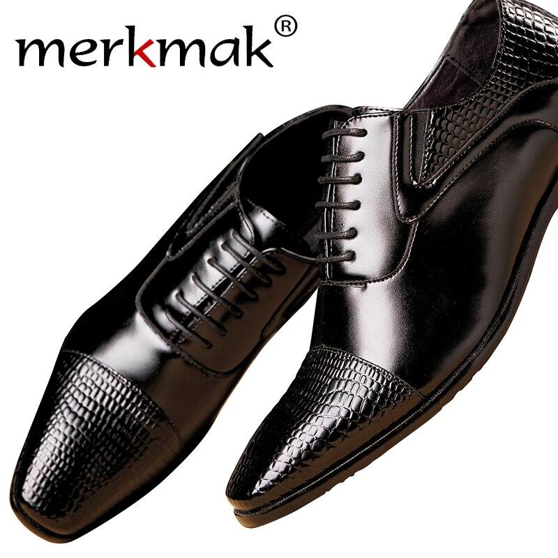 Merkmak Men Shoes Top Quality Oxfords Men Genuine Leather Dress Shoes Business Formal Shoes Men  Plus Size Wedding Party