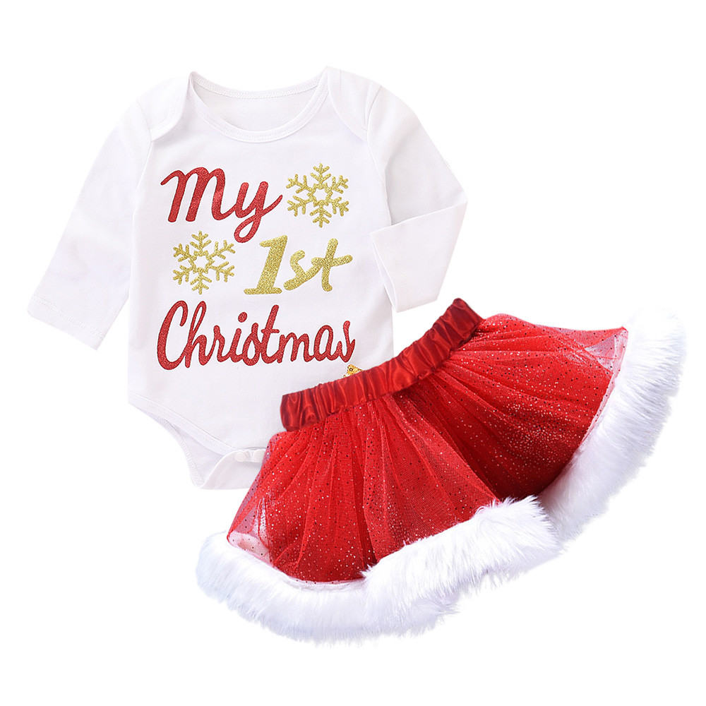 My First Christmas Newborn Infant Baby Girls Letter Christmas XMAS Romper Tutu Skirt Outfits Set Conjunto Infantil Menino#3