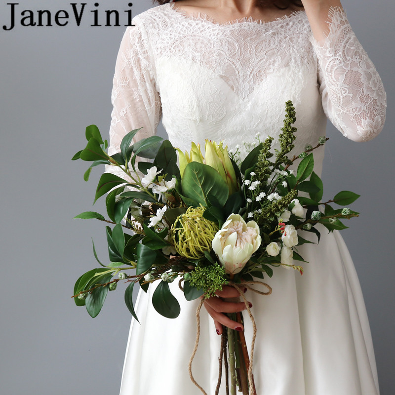 JaneVini Vintage Green Leave Bride Bouquet Artificial Bunch of Flowers for Wedding Bridal Bouquets Bridesmaid Hand Accessories