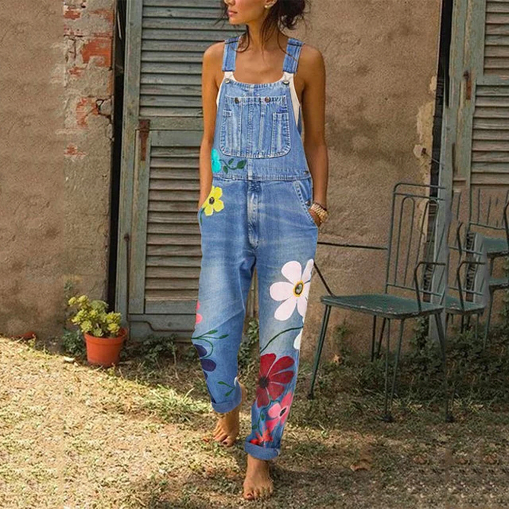 OEAK 2019 Fashion Women Florals Printing Women Jeans Autumn Straps Neck Light Washed Pockets Overalls Denim Pants Full Length