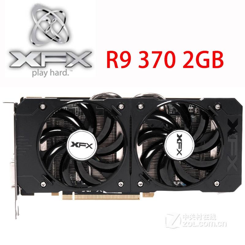 Видеокарта XFX R9 370 2 Гб, 256Bit GDDR5 для AMD R9 300 серии карт R9370 2 Гб HDMI DVI Radeon R9 370 1024SP, б/у-0