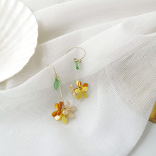Wholesale Korean Colorful Resin Flower Earrings for Women Female Arcylic Gold Color Metal Floral Long Tassel Earrings Brincos цена 2017