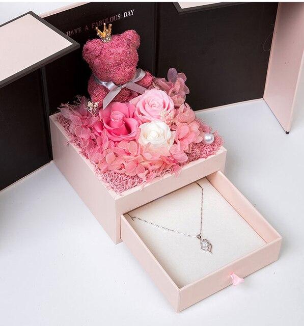 2020 подарок на день Святого Валентина, мишка тедди, роза, двухдверная Подарочная коробка, женский день, годовщина, Рождество, подарок