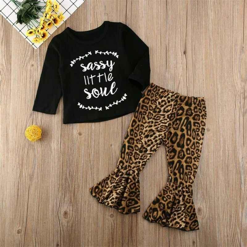 2019 ropa de leopardo para bebés recién nacidos, camisetas, pantalones acampanados, conjuntos, ropa de otoño para niñas y niños