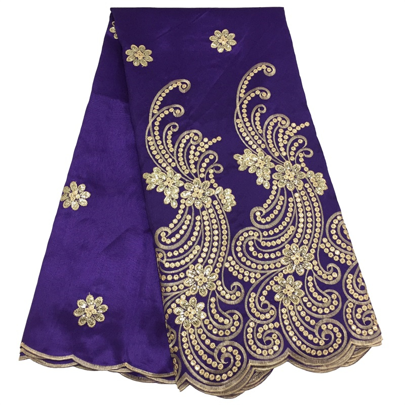 High Quality Cotton-Like Nigerian Sequins Lace Fabric French Floral Embroidery African Wax George Lace Fabrics For Wedding Party