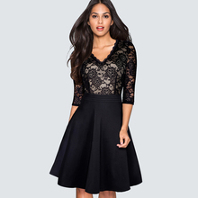 New Autumn Vintage Stylish Floral Lace Patchwork Black Party Women Casual Work Office Swing Skater Dress HA186