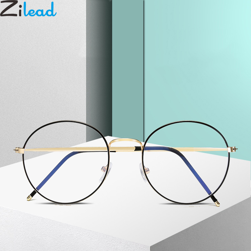 Zilead Anti Blue Light Glasses Frame Ultralight Metal Round Optical Sepectacles Men Women Computer Goggles Eyeglasses Eyewear