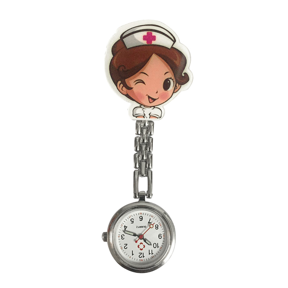 Women Round Dial Quartz Portable Fashion Lapel Hanging Clip Nurse Watches Pin Buckle Stethoscope Cute Cartoon Durable Gift