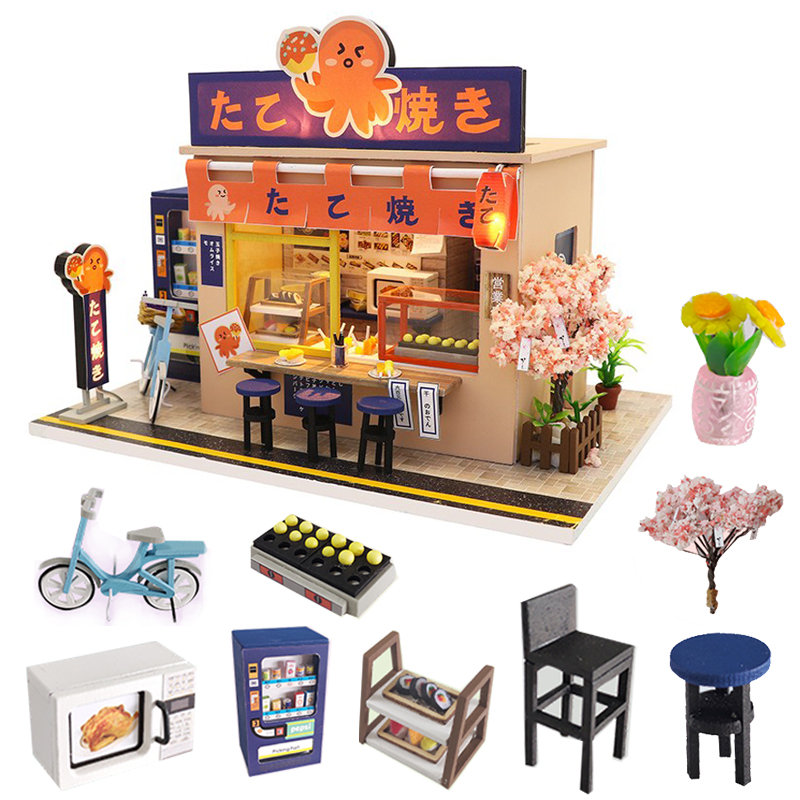 Japanese Style Snack Bar DIY Wooden Doll House Miniaturas With Furniture  DIY House Home Dollhouse Toys For Children Christmas