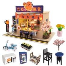 Maison de poupée en bois pour enfants, style japonais, avec meubles, jouets de noël